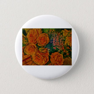 Neon Ivory Roses Scene Pinback Button