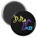 Neon Jazz Bar Sign 2 Inch Round Magnet