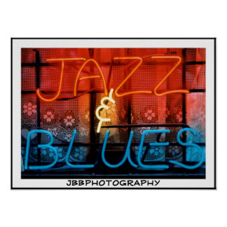 neon jazz blues poster