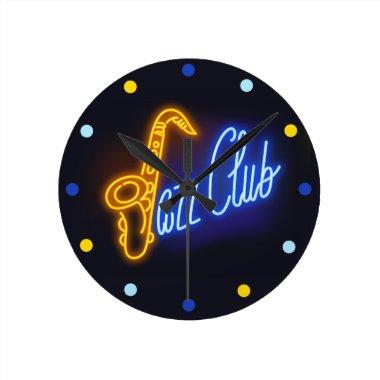 Neon Jazz Club Saxophone Sax blue Yellow Clock