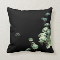 Neon Jellyfish Throw Pillow