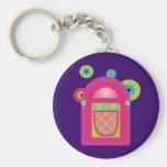 Neon Jukebox Basic Round Button Keychain