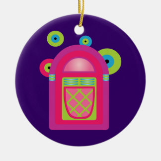Neon Jukebox Double-Sided Ceramic Round Christmas Ornament