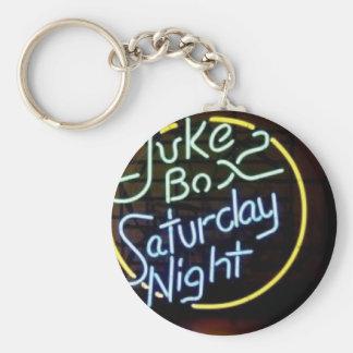 Neon Jukebox Sign Basic Round Button Keychain