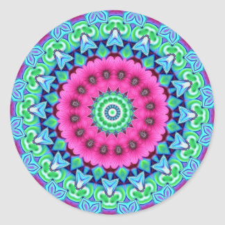 Neon Kaleidoscope Design Classic Round Sticker