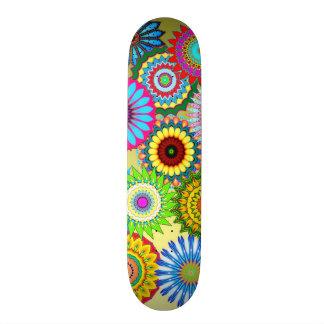 neon kaleidoscope rainbow color retro skateboard 2