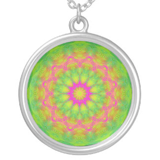 Neon Kaleidoscope Silver Plated Necklace