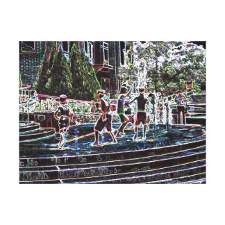 Neon Kids In Fountain - Digital Art - Riverwalk Canvas Print