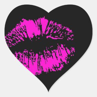 Neon Kiss on Black Heart Heart Sticker