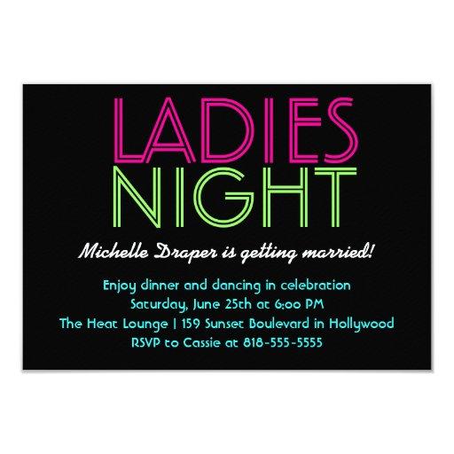 Neon Ladies Night Card