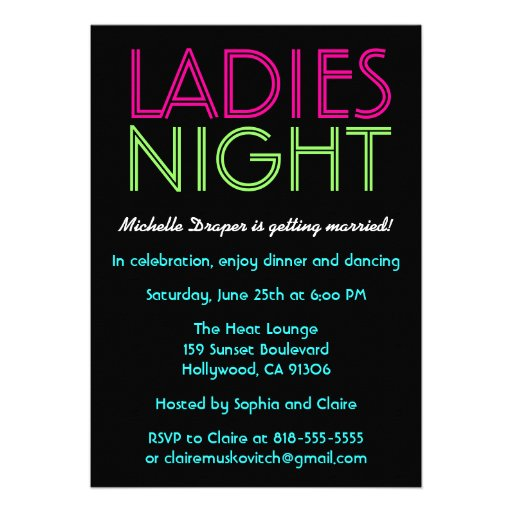 Neon Ladies Night Card Announcements