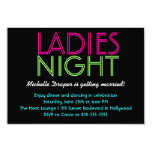 Neon Ladies Night Card Custom Announcements