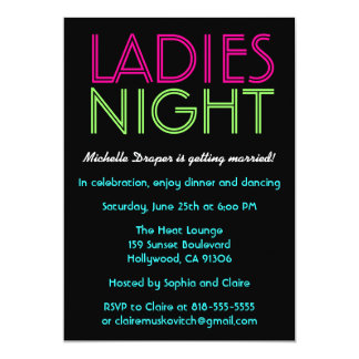 Neon Ladies Night Card Announcements