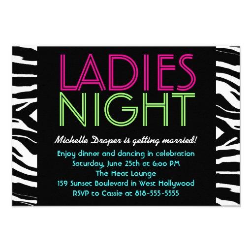 Neon Ladies Night Card zebra Invitations