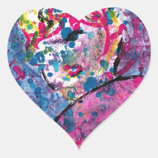Neon Lady Heart Sticker