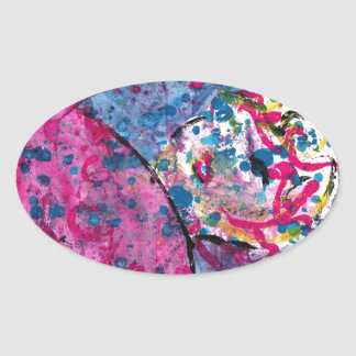 Neon Lady Oval Sticker