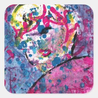 Neon Lady Square Sticker