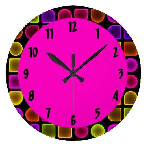 Neon Large Decorative Wall Clock Zazzle