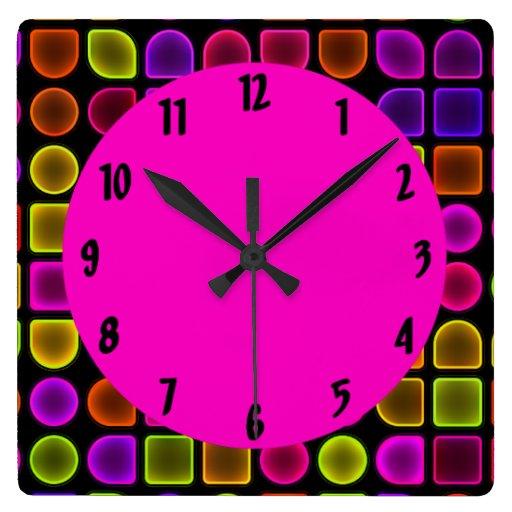 Neon Large Square Decorative Wall Clock