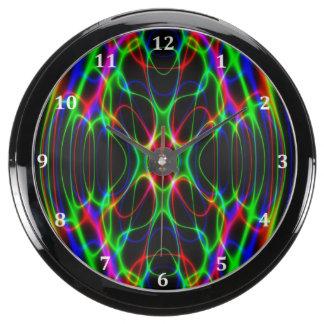 Neon Laser Light Psychedelic Abstract Aquarium Clocks