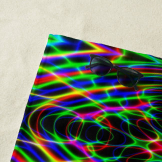 Neon Laser Light Psychedelic Abstract Beach Towel