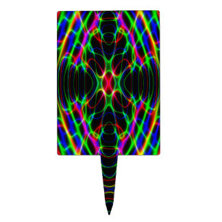 Neon Laser Light Psychedelic Abstract Cake Toppers