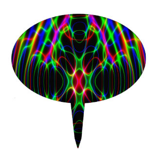 Neon Laser Light Psychedelic Abstract Cake Topper
