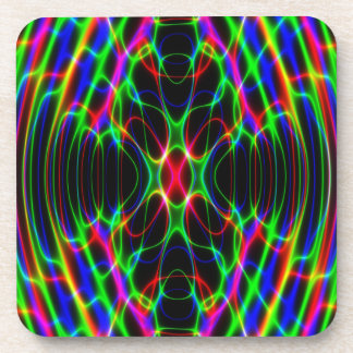 Neon Laser Light Psychedelic Abstract Coaster