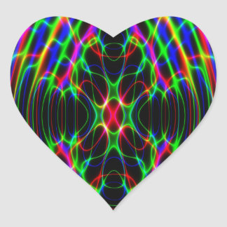 Neon Laser Light Psychedelic Abstract Heart Sticker
