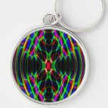 Neon Laser Light Psychedelic Abstract Silver-Colored Round Keychain