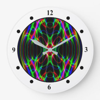 Neon Laser Light Psychedelic Abstract Large Clock