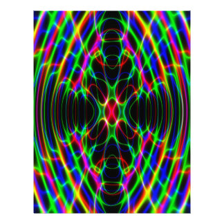 Neon Laser Light Psychedelic Abstract Letterhead