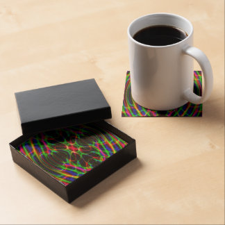 Neon Laser Light Psychedelic Abstract Beverage Coaster