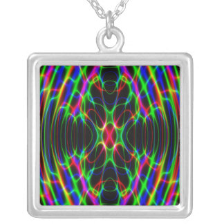 Neon Laser Light Psychedelic Abstract Silver Plated Necklace