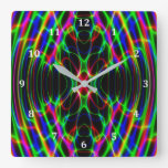 Neon Laser Light Psychedelic Abstract Square Wall Clock