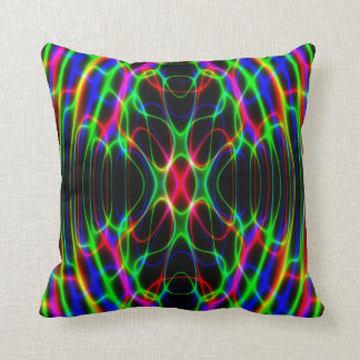 Neon Laser Light Psychedelic Abstract Throw Pillow