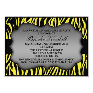 Neon Lemon Wild Night Zebra Bachelorette Party 5x7 Paper Invitation Card