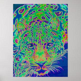 neon leopard poster