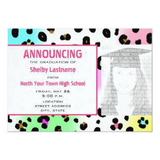 Neon Leopard Print Graduation Photo Announcement