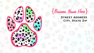 Animal print business cards templates zazzle neon leopard print paw print business card colourmoves
