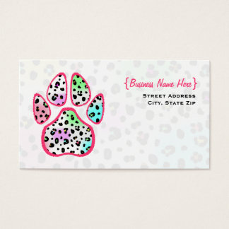Neon Leopard Print Paw Print Business Card