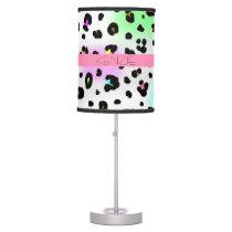 Neon Leopard Print Personalized Lamp