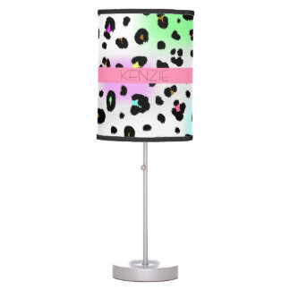 Neon Leopard Print Personalized Lamp