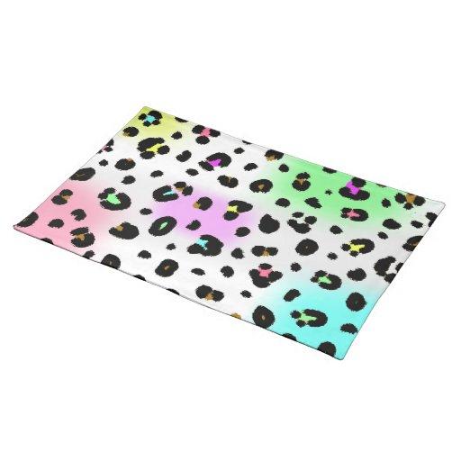 Neon Leopard Print Place mat Cloth Place Mat