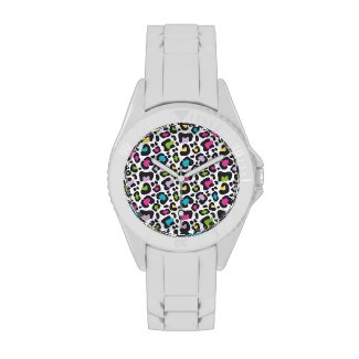 Neon Leopard Print Silicone Watch