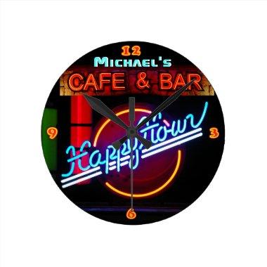 Neon Light BAR CAFE Custom SIGN Happy hour Round Clock