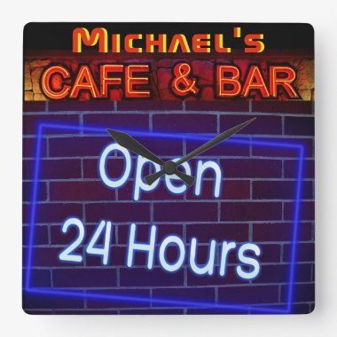 Neon Light BAR CAFE OPen ALL Hours Personalized 2 Square Wall Clock