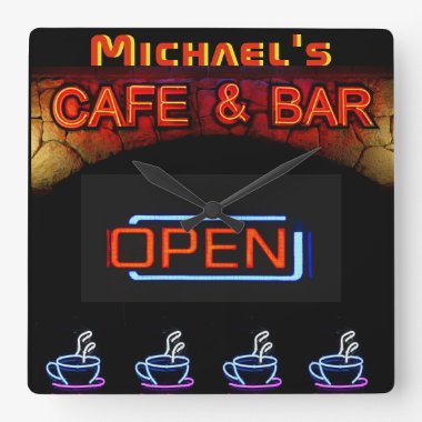 Neon Light BAR CAFE OPen Coffee Cups Personalized Square Wall Clock
