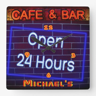 Neon Light BAR CAFE Pen ALL Hours Personalized Square Wall Clock