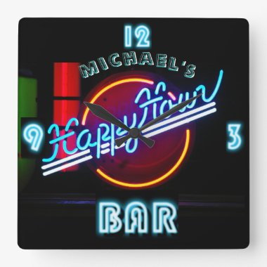 Neon Light BAR CLOCK Personalized Happy Hour 2